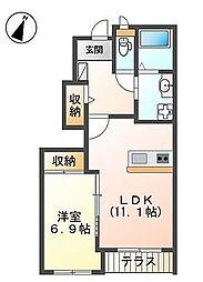 Confort 1階1LDKの間取り
