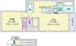 JR東北本線 南仙台駅 徒歩36分の賃貸アパート 2階1LDKの間取り