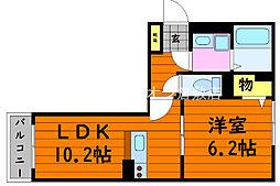 JR山陽本線 中庄駅 徒歩8分の賃貸アパート 2階1LDKの間取り