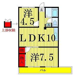 東京都足立区保木間3丁目の賃貸マンションの間取り