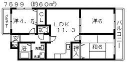 ルミエール藤井寺[401号室号室]の間取り
