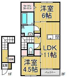 神奈川県鎌倉市小町1丁目の賃貸アパートの間取り