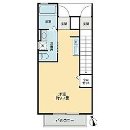ベルリード花ノ宮(アパート) 1階ワンルームの間取り