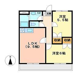 愛知県名古屋市守山区西城2の賃貸マンションの間取り