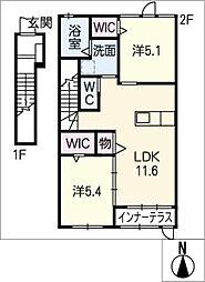 仮)岐南町徳田H様新築アパート[2階]の間取り