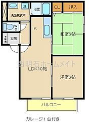 兵庫県明石市二見町東二見の賃貸アパートの間取り