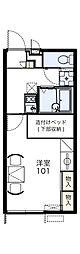 レオパレス甲田 1階1Kの間取り