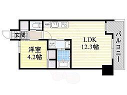 大阪モノレール本線 山田駅 徒歩15分の賃貸マンション 3階1LDKの間取り