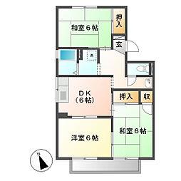 岡山県倉敷市神田2丁目の賃貸アパートの間取り