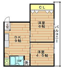 大阪府大阪市港区弁天4丁目の賃貸マンションの間取り