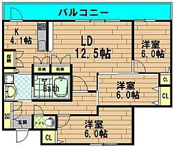 ディークラディア四ツ橋[10階]の間取り