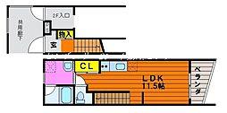 JR山陽本線 瀬戸駅 徒歩5分の賃貸タウンハウス 2階ワンルームの間取り