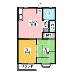 ドエル鳴子[2階]の間取り