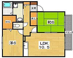 大阪府交野市私部南3丁目の賃貸アパートの間取り