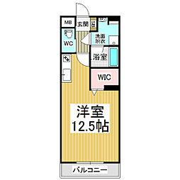JR篠ノ井線 広丘駅 徒歩21分の賃貸マンション 3階ワンルームの間取り