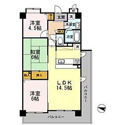 大阪府堺市西区鳳東町6丁の賃貸マンションの間取り