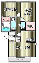 ベルフラワー鎌倉[102号室]の間取り