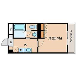 奈良県橿原市十市町の賃貸マンションの間取り