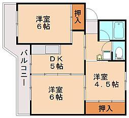 ビレッジハウス飯塚2号棟[5階]の間取り