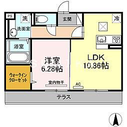 (仮)D-room横井上 1階1LDKの間取り