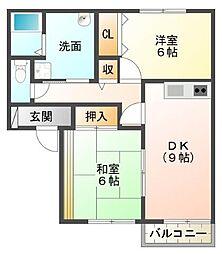 静岡県三島市大社町の賃貸アパートの間取り