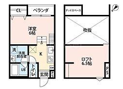 大阪府堺市堺区大浜中町2丁の賃貸アパートの間取り