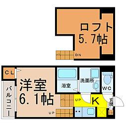 愛知県名古屋市昭和区御器所2丁目の賃貸アパートの間取り