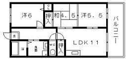 大阪府大阪市住吉区苅田2丁目の賃貸マンションの間取り