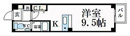 京都市営烏丸線 四条駅 徒歩7分の賃貸マンション 3階1Kの間取り