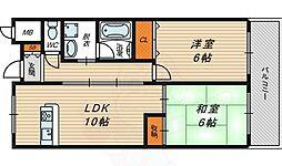サンシャイン田中 1階2LDKの間取り