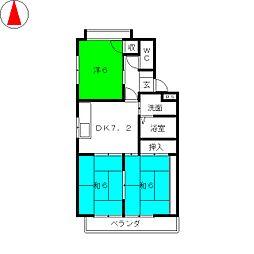 高山マンションB棟[3階]の間取り