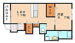仮称 横田新築アパート[1階]の間取り