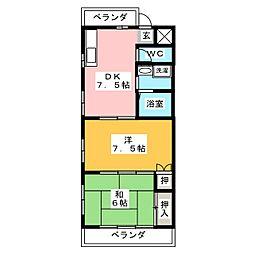 レジデンス司[3階]の間取り