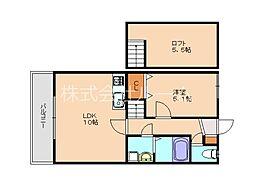 JR香椎線 宇美駅 徒歩20分の賃貸アパート 2階1SLDKの間取り