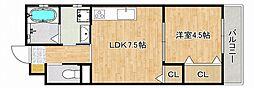 JR東海道・山陽本線 甲南山手駅 徒歩1分の賃貸アパート 3階1LDKの間取り