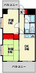 ライオンズマンション黒崎[6階]の間取り