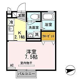 D-room柏木 2階1Kの間取り