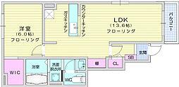 フォレストノート 1階1LDKの間取り