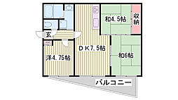 兵庫県神戸市長田区丸山町4丁目の賃貸マンションの間取り