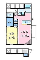 京王井の頭線 富士見ヶ丘駅 徒歩14分の賃貸アパート 2階1LDKの間取り