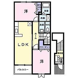 JR美祢線 美祢駅 徒歩10分の賃貸アパート 2階2LDKの間取り