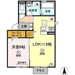 JR山陽本線 北長瀬駅 徒歩33分の賃貸アパート 1階1LDKの間取り