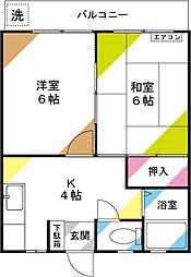 七鈴コーポ[102号室]の間取り