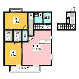 ヒルクレストB[2階]の間取り