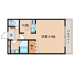 近鉄大阪線 大和八木駅 徒歩15分の賃貸マンション 1階ワンルームの間取り
