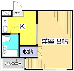 東京都国分寺市日吉町1丁目の賃貸マンションの間取り