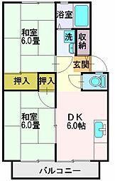 嶋田ハイツA[201号室]の間取り