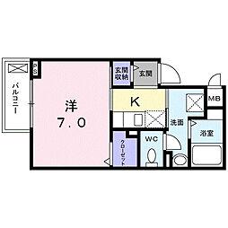 京王線 調布駅 徒歩6分の賃貸アパート 2階1Kの間取り