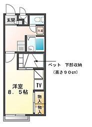 兵庫県赤穂市若草町の賃貸アパートの間取り