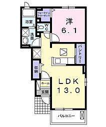 愛知県西尾市吉良町吉田上浜の賃貸アパートの間取り